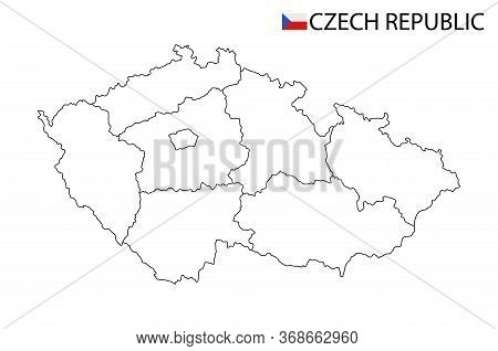 Czech Republic Map, Black And White Detailed Outline Regions Of The Country.