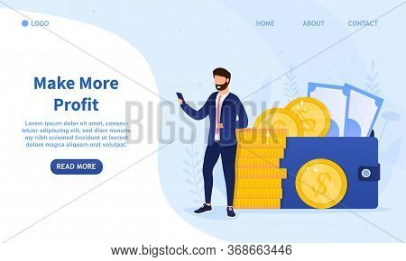 Young Successful Businessman Standing Near A Stack Of Coins And Looks At The Smartphone. Man Makes M