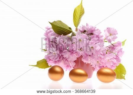 Trio Of Golden Painted Eggs For Easter Decoration