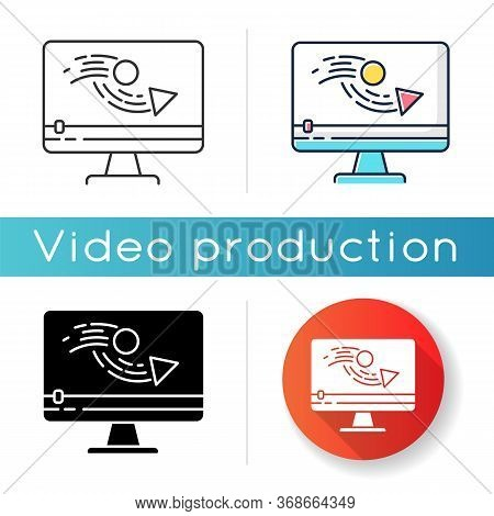 Animation Making Icon. Video Production Process. Digital Content Editing. Motion Graphic Creating. F