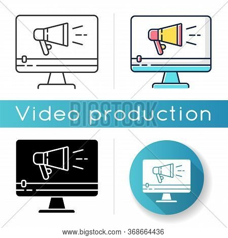 Tv Commercial Icon. Marketing Promotion. Video Production. Digital Advertisement Content. Television
