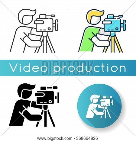 Cameraman Icon. Filmmaking And Videography. Cinematography Industry. Professional Camera Operator. M