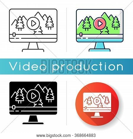 Nature Documentary Icon. Travel Blog Video Watching. Ecology And Tourism Non-fictional Movie. Wildli