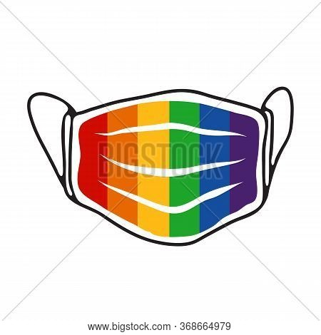 Face Mask With Rainbow Flag Isolated On White Background. Lgbt Pride Month Sign. Gay Rights Symbol.