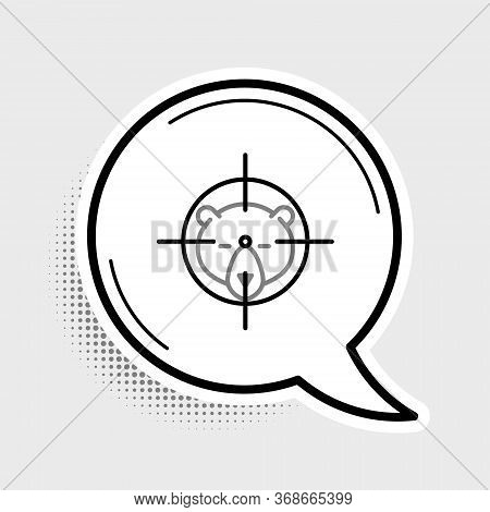 Line Hunt On Bear With Crosshairs Icon Isolated On Grey Background. Hunting Club Logo With Bear And