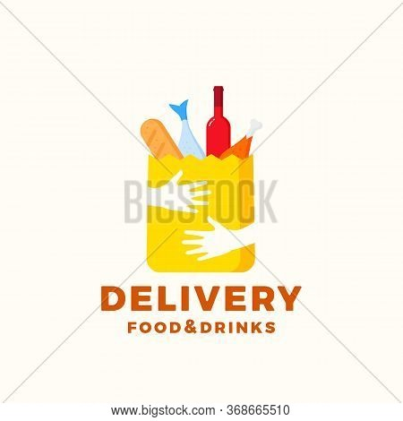 Flat Style Colorful Food And Drinks Delivery Abstract Vector Sign Or Logo Template. Paper Bag With H