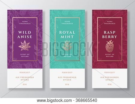 And Berries Home Fragrance Abstract Vector Labels Template Set. Hand Drawn Sketch Flowers, Leaves Ba