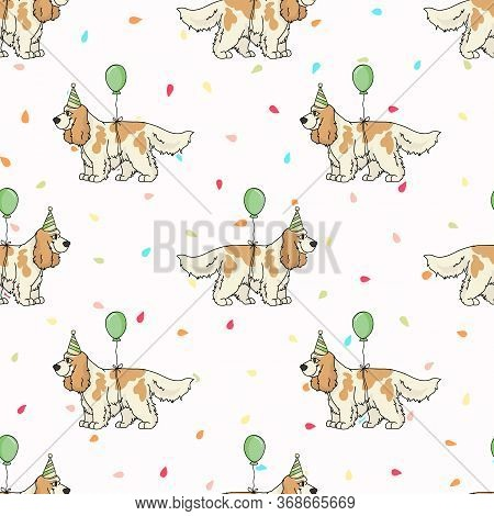 Hand Drawn Cute Cocker Spaniel Dog With Party Hat Breed Seamless Vector Pattern. Purebred Pedigree C
