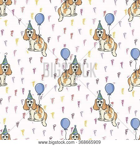 Hand Drawn Cute Cocker Spaniel Puppy With Party Hat Breed Seamless Vector Pattern. Purebred Pedigree