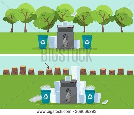 A Pile Of Paper And Documents Stands Above Big Floor Shredder In Front On Green Trees And Stumps. Ma