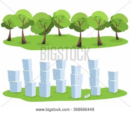 Pile Of Office Documents As Tree Waste Isolated On White Background. Trees Vs Paper Piles. Flat Vect