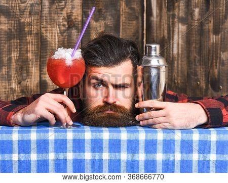 Tired Barman Concept. Barman With Beard And Grimace