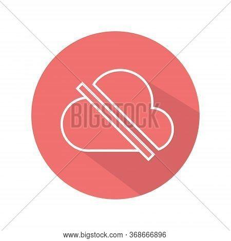 Offline Cloud Flat Icon Vector. No Access Internet Symbol