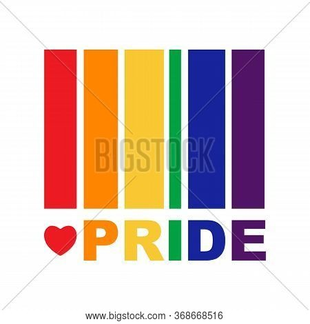 Rainbow Flag On White Background. Lgbt Pride Month. Gay Rights Symbol. Conceptual Vector Illustratio
