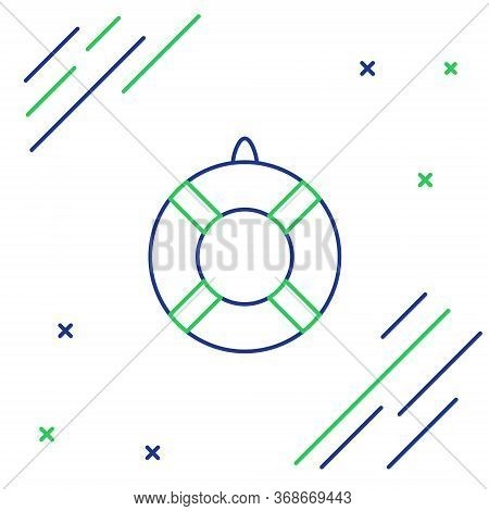Line Lifebuoy Icon Isolated On White Background. Lifebelt Symbol. Colorful Outline Concept. Vector.