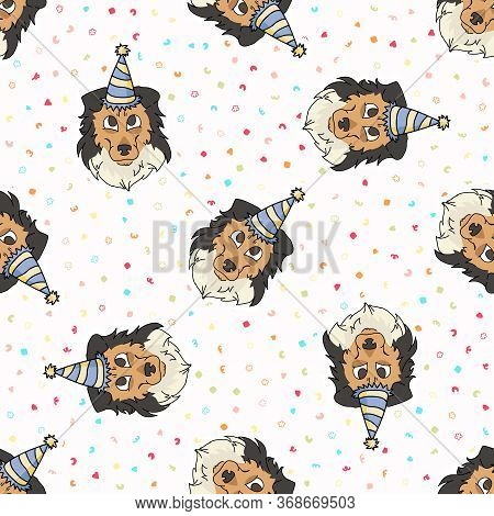 Hand Drawn Cute Rough Collie Dog Face With Party Hat Seamless Vector Pattern. Purebred Pedigree Pupp