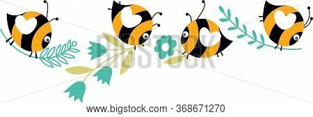 Scalable Vectorial Representing A Four Bees Flying With Blue Flowers, Element For Design, Illustrati