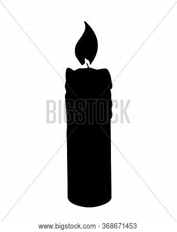 Candle Silhouette. Wax Burning Candle Silhouette- Vector Silhouette Picture For Logo Or Sign. Candle