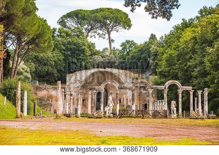 Villa Adriana Or Hadrians Villa. Roman Archaeological Complex At Tivoli, Italy