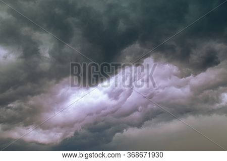 Low Gray Clouds In The Sky Before The Rain, Overcast Sky With Dark Clouds