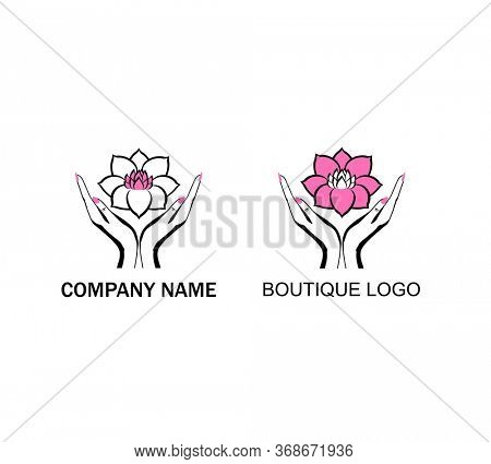 Black and white prints variation for logo design, cosmetician, spa and massage salon with female hands holding a beautiful pink lotus flower