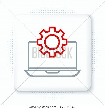 Line Laptop And Gear Icon Isolated On White Background. Laptop Service Concept. Adjusting App, Setti