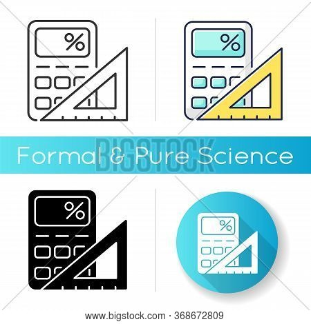 Mathematics Icon. Fundamental Formal Science. School Subject, Scientific Discipline. Algebra, Geomet
