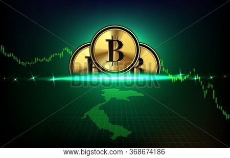 Abstract Futuristic Technology Background Of Thai Baht Digital Cryptocurrency Coin And Thailand Map
