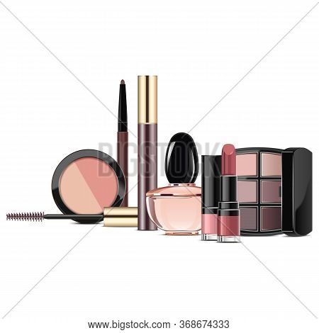Vector Rosewood Makeup Collection Isolated On White Background