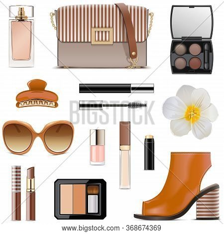 Vector Spring Female Accessories Set 2 Isolated On White Background