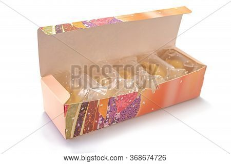 Bread Stuffed With Delicious Pineapples In A Colorful Box Isolated On White Background. Selective Fo