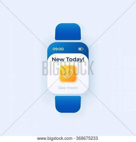 Pill Reminder Smartwatch Interface Vector Template. Prescription Schedule Mobile App Notification Da