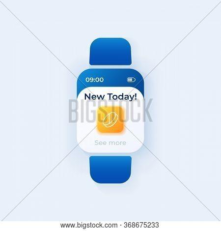 Pill Reminder Smartwatch Interface Vector Template. Prescription Schedule Mobile App Notification Da