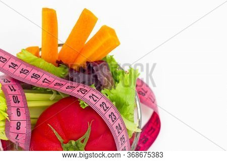 Diet And Nutrition. Healthy Eating Concepts, Diet Control, Weight Loss, Reduce Starch, Eat Salads. A
