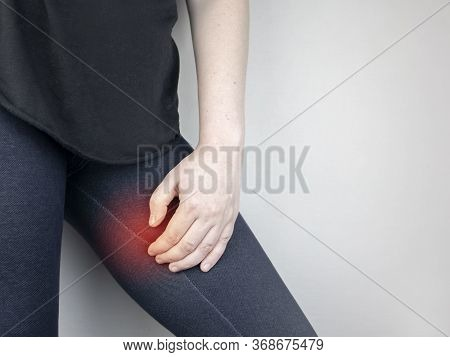 A Woman Suffers From Pain In The Inner Thigh. The Concept Of Treating A Hip Joint For Trauma, Myosit