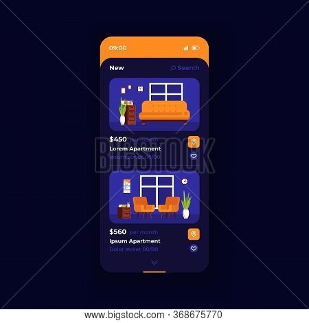 Apartment Cost Smartphone Interface Vector Template. Mobile App Page Dark Blue Design Layout. Price