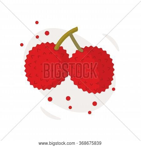 Tropical Fruit - Pair Of Lychee - Icon Set Isolated On White Background. Two Lychees. Flat Vector Il