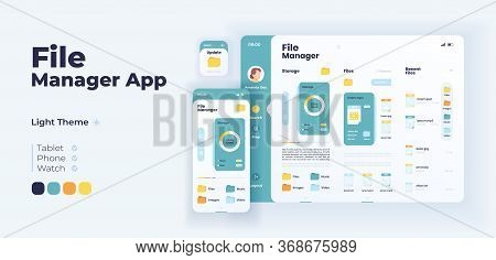 File Manager App Screen Vector Adaptive Design Template. Application Day Mode Interface With Flat Il