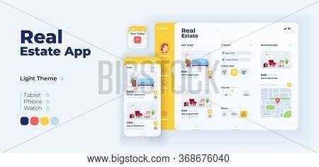 Real Estate App Screen Vector Adaptive Design Template. Realtor Agency. Buying Apartment Application