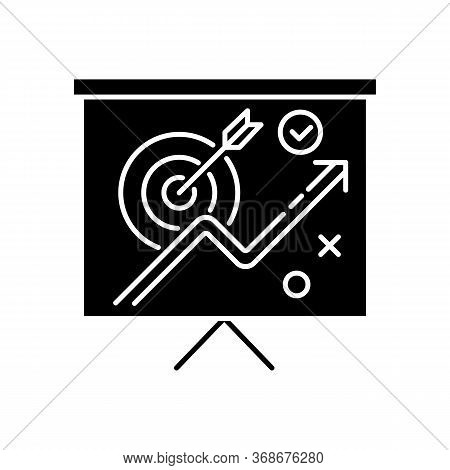 Marketing Strategy Black Glyph Icon. Corporate Project Presentation. Objective For Growth. Financial