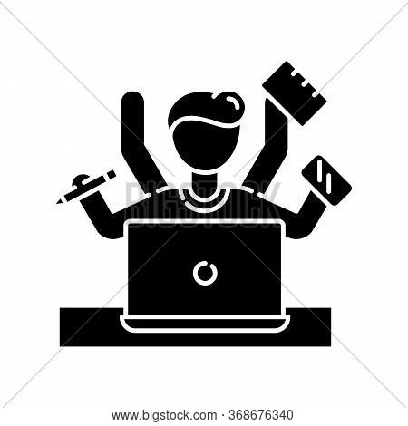 Multitasking Black Glyph Icon. Work Overload. Efficiency In Management. Productive Employee. Job Bal