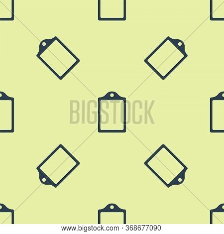 Blue Cutting Board Icon Isolated Seamless Pattern On Yellow Background. Chopping Board Symbol. Vecto