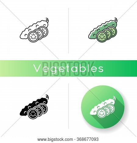 Cucumber Icon. Fresh Vegetable With Sliced Pieces. Whole Veggie With Vitamin. Fitness Dieting. Foods
