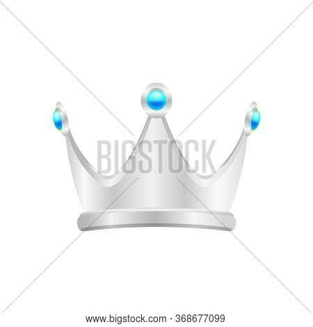 Silver Crown Isolated On White, Circle Crown Silver Icon, Vintage Silver Crown Luxury, Crown Silver
