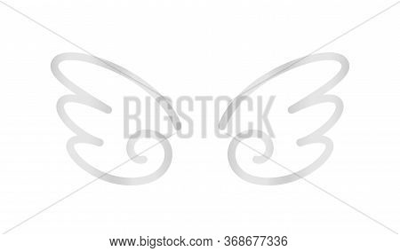 Angel Wings Icon Silver Isolated On White, Cute Cartoon Silver Wing Ornate, Clip Art Angel Wings Sha