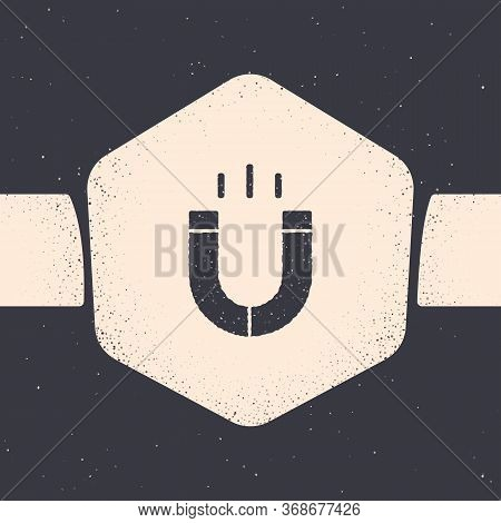 Grunge Magnet Icon Isolated On Grey Background. Horseshoe Magnet, Magnetism, Magnetize, Attraction.
