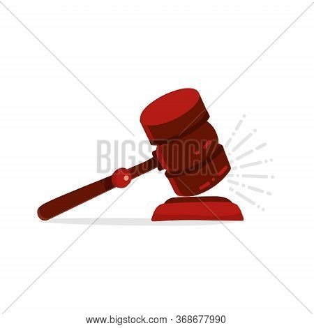 Gavel Judge Isolated On A White Background. Wooden Hummer Law Concept. Gavel Kick On Stand Flat Cart