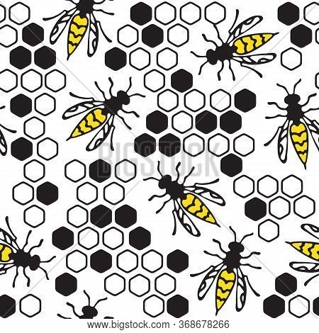 Seamless Pattern With Wasps And Honeycombs On White Background. Hand Drawn Style. A Stinging Insect.