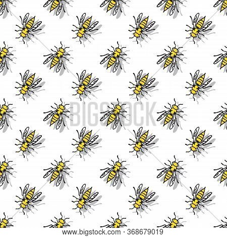 Seamless Pattern With Wasps Isolated On White Background. Hand Drawn Style. A Stinging Insect. Desig