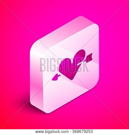 Isometric Amour Symbol With Heart And Arrow Icon Isolated On Pink Background. Love Sign. Valentines